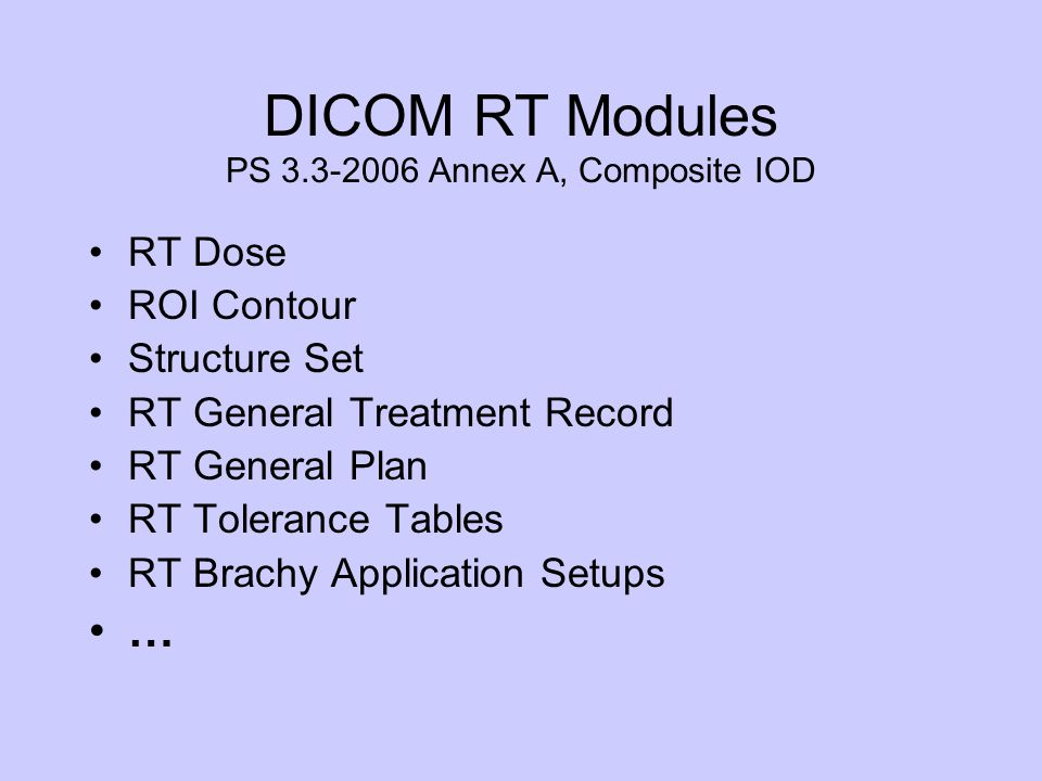 DICOM RT Modules PS 3.3-2006 Annex A, Composite IOD