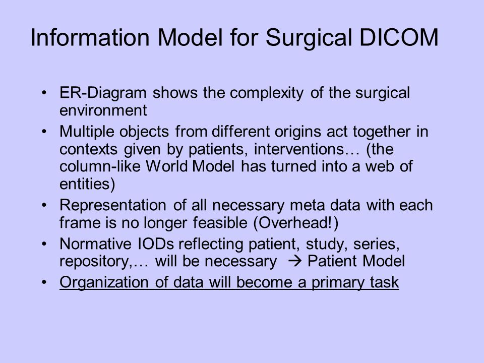 Information Model for Surgical DICOM