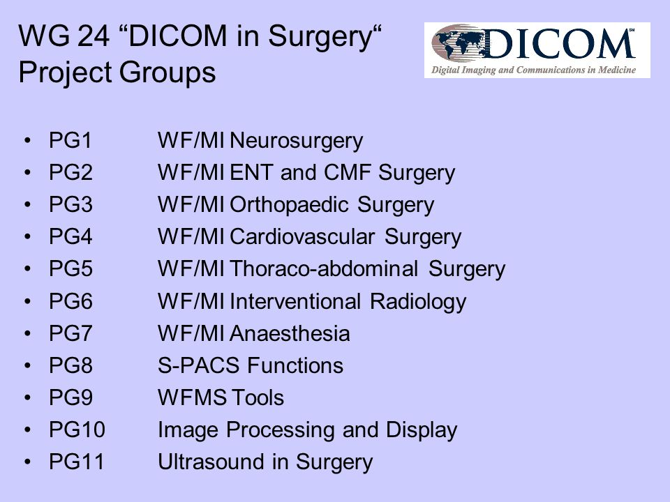 WG 24 DICOM in Surgery Project Groups