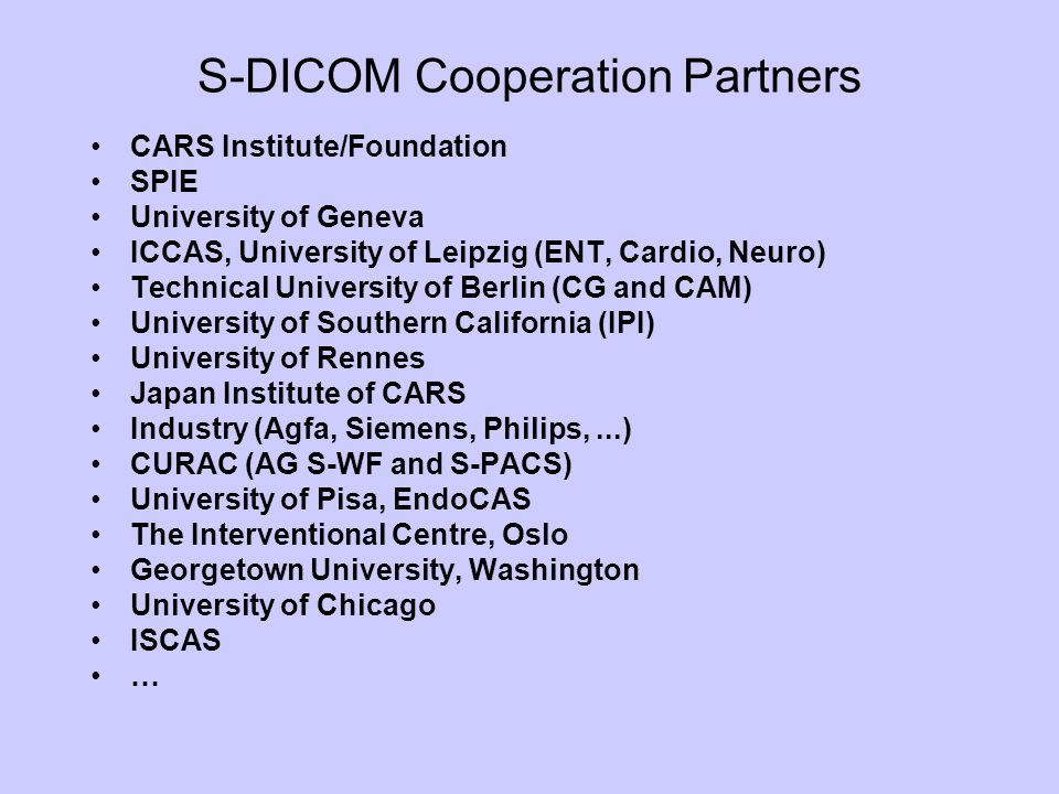 S-DICOM Cooperation Partners