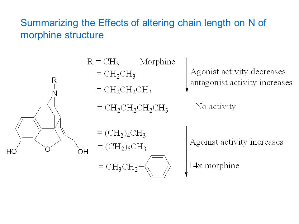 Summarizing the Effects of altering chain length on N of morphine structure