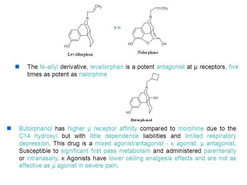 >> The N–allyl derivative, levallorphan is a potent antagonist at μ receptors, five times as potent as nalorphine.