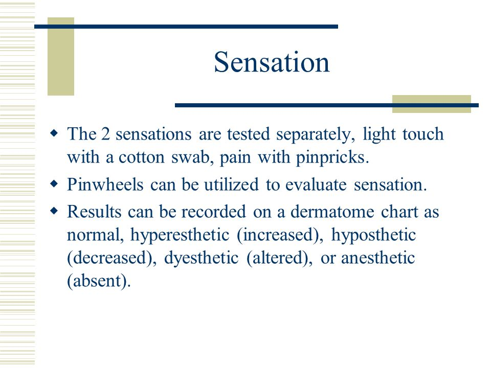 Sensation The 2 sensations are tested separately, light touch with a cotton swab, pain with pinpricks.