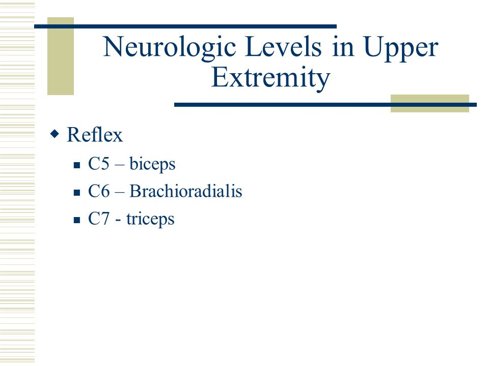 Neurologic Levels in Upper Extremity