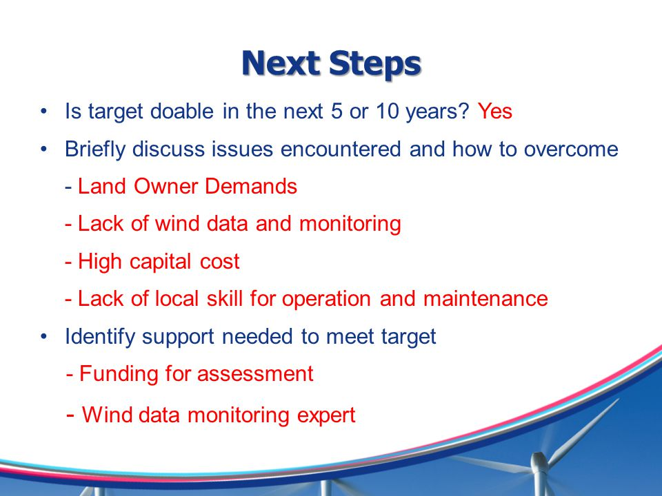 Next Steps - Wind data monitoring expert