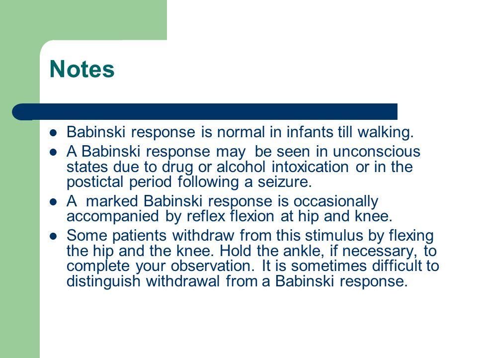 Notes Babinski response is normal in infants till walking.
