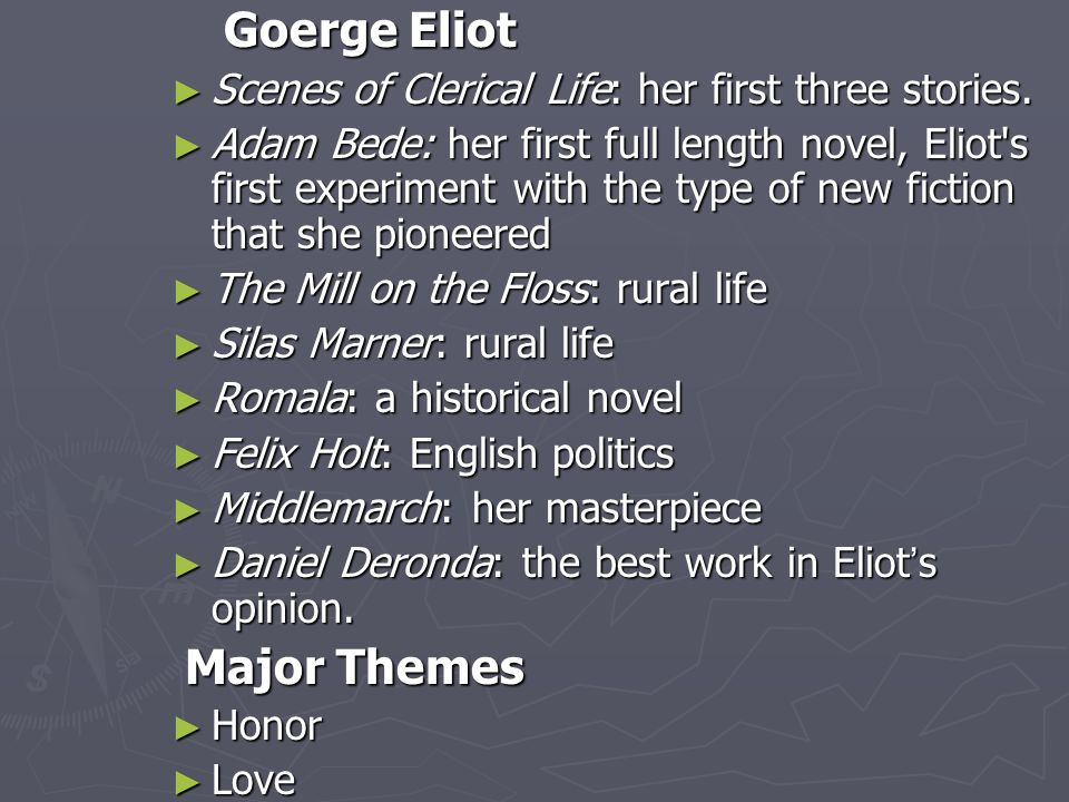 Goerge Eliot Scenes of Clerical Life: her first three stories.