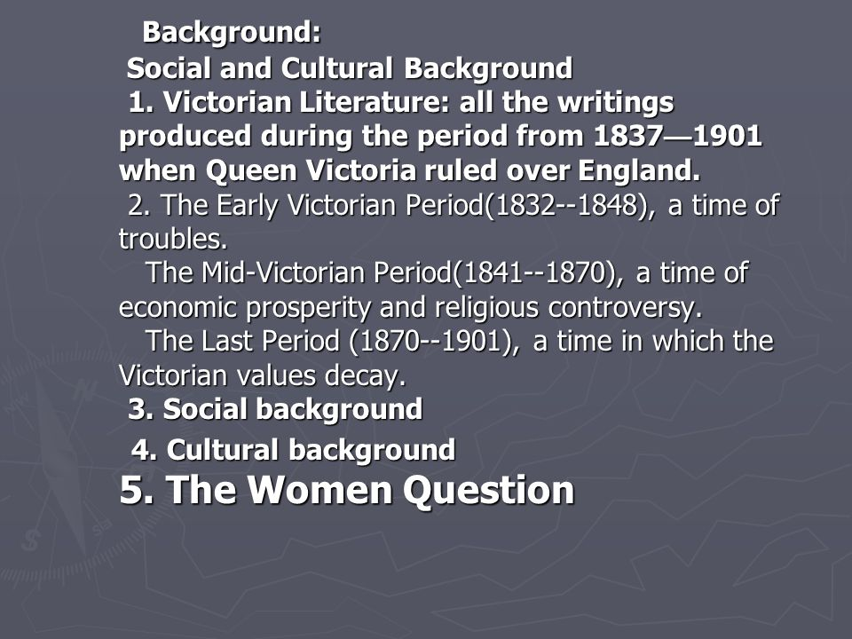 Background: Social and Cultural Background 1