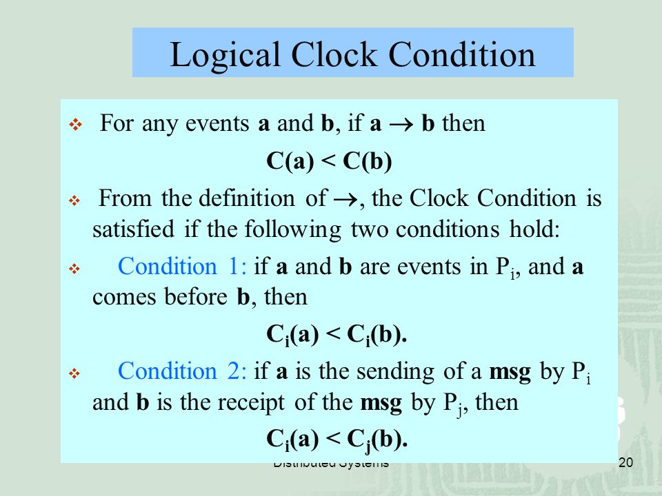 Logical Clock Condition