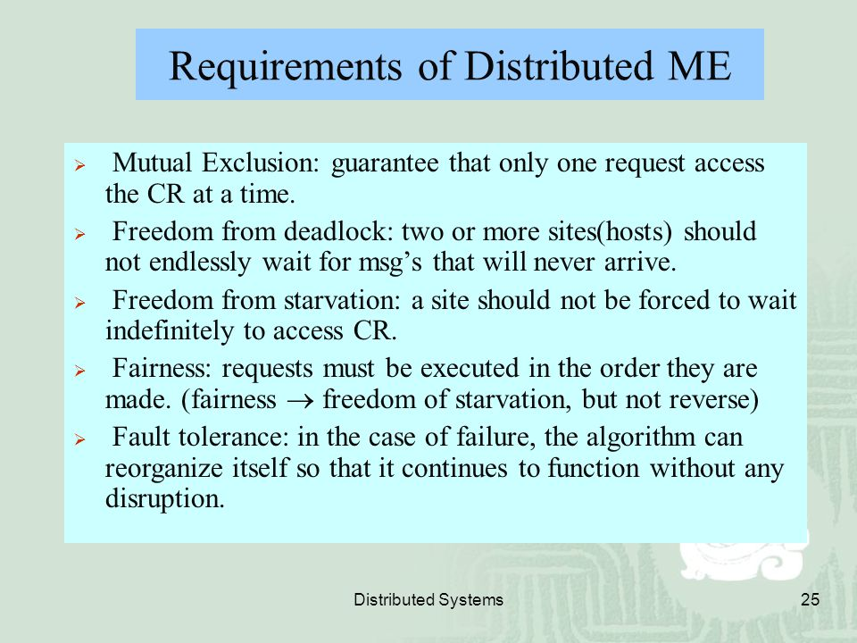 Requirements of Distributed ME