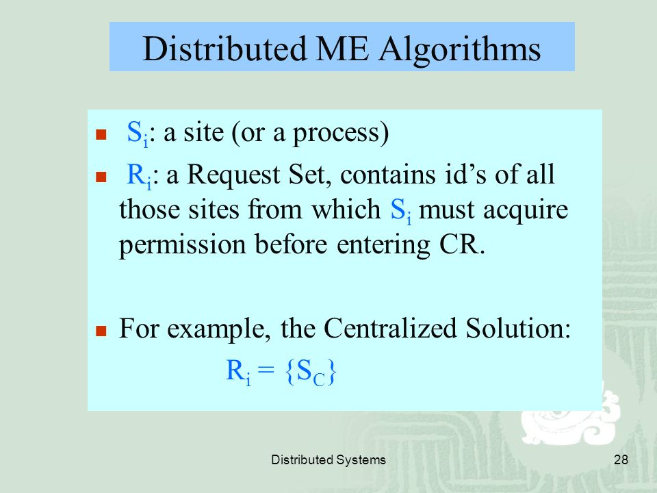 Distributed ME Algorithms
