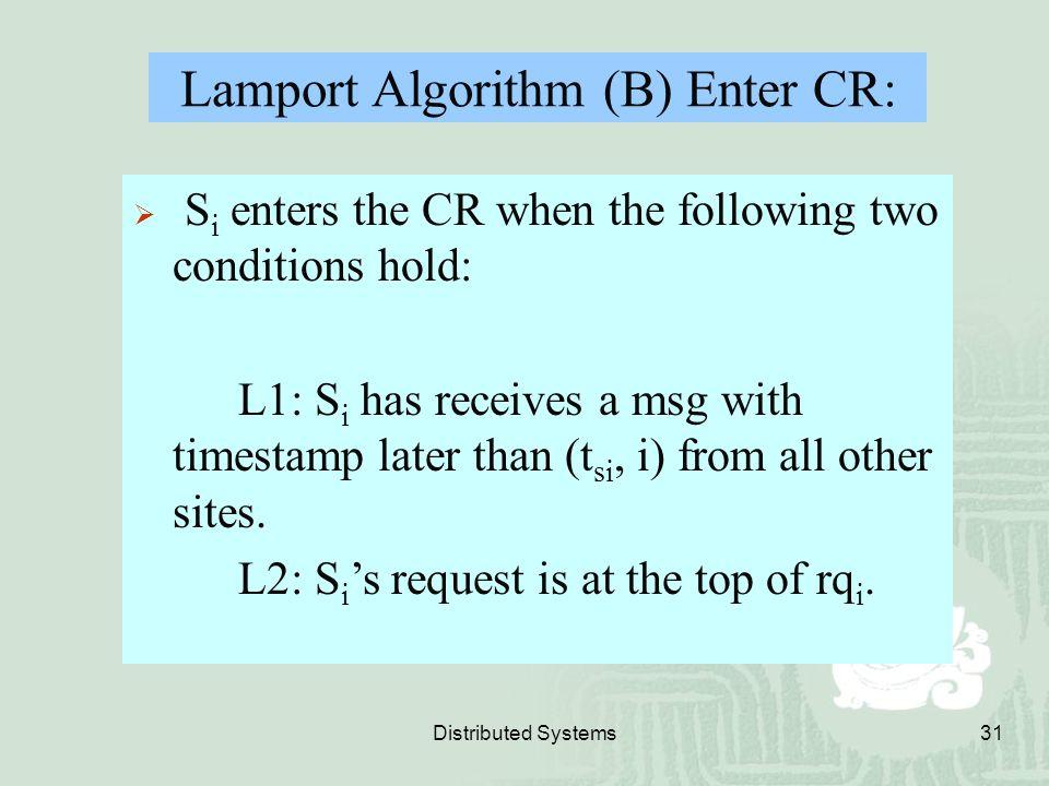 Lamport Algorithm (B) Enter CR: