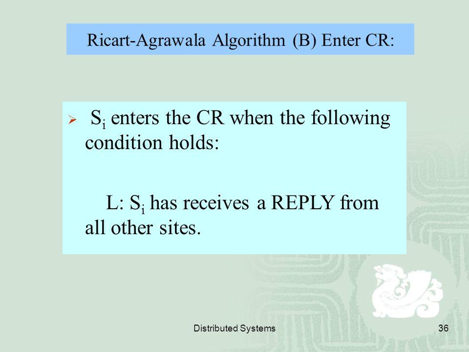 Ricart-Agrawala Algorithm (B) Enter CR: