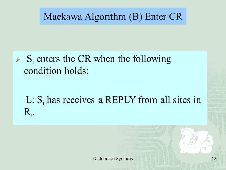Maekawa Algorithm (B) Enter CR