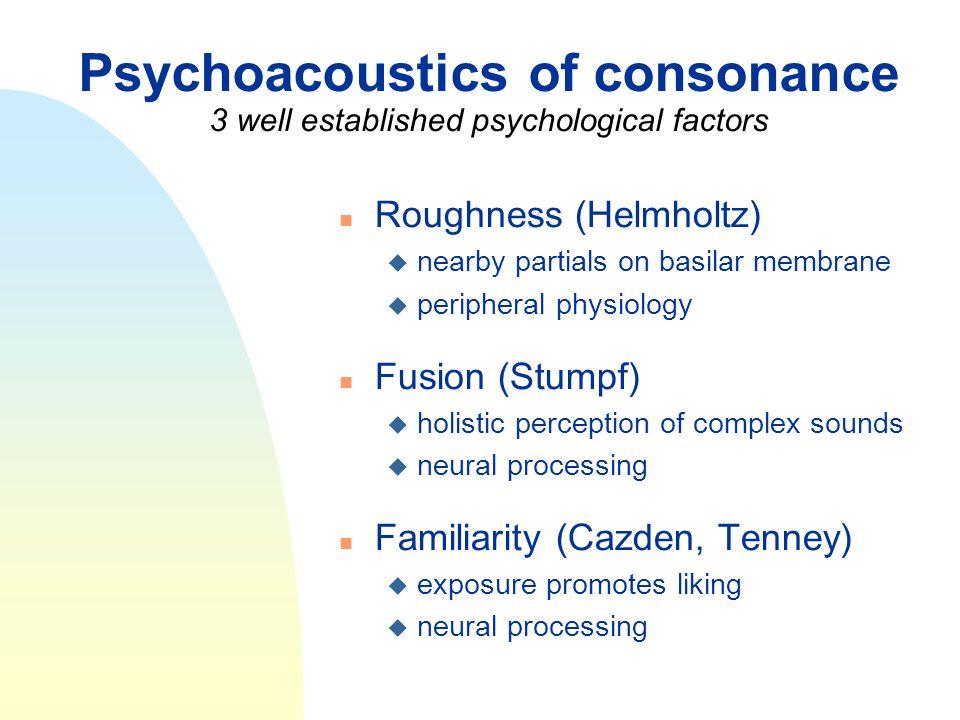 Psychoacoustics of consonance 3 well established psychological factors