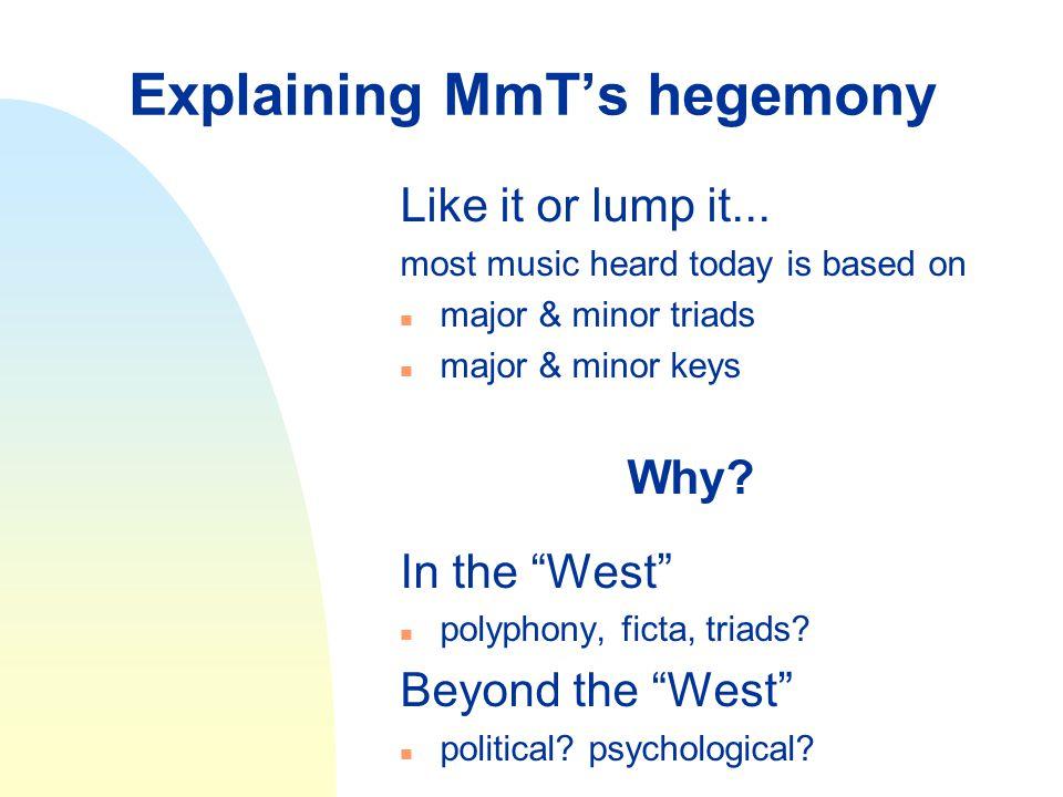 Explaining MmT's hegemony