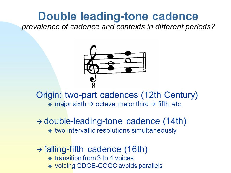 Double leading-tone cadence prevalence of cadence and contexts in different periods Origin: two-part cadences (12th Century)