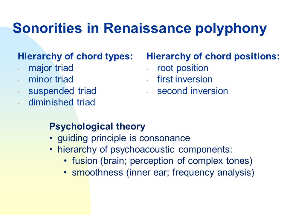 Sonorities in Renaissance polyphony