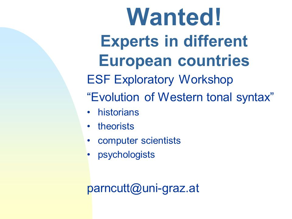 Wanted! Experts in different European countries