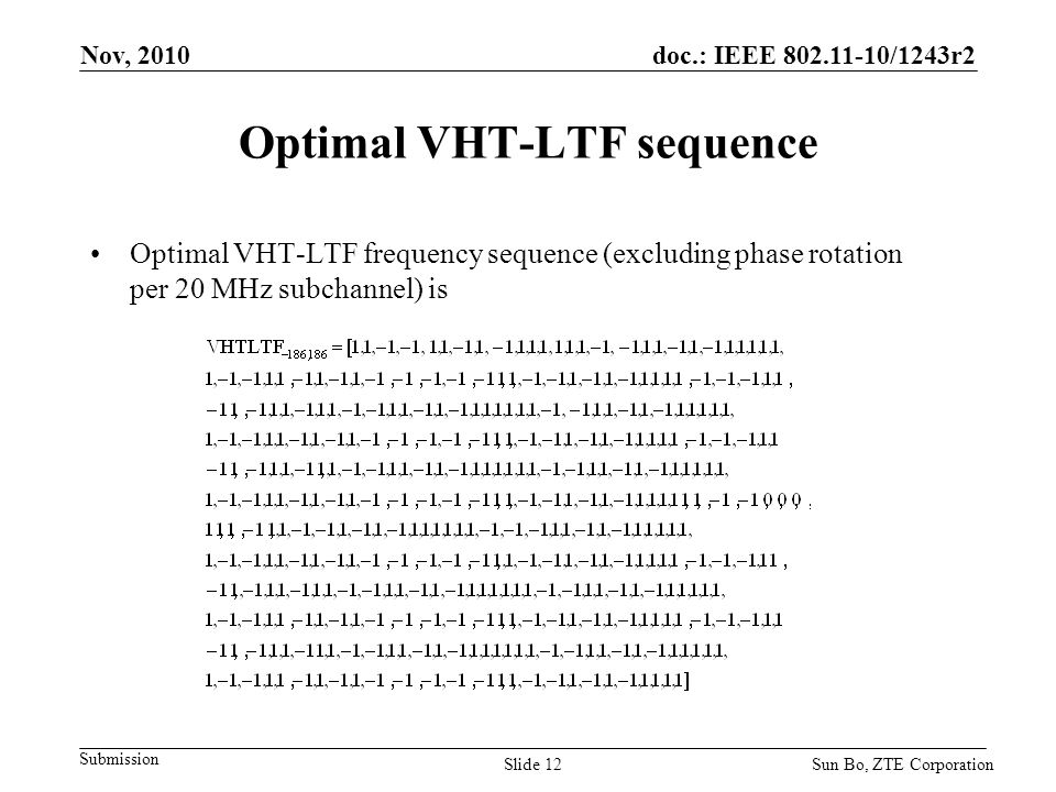 Optimal VHT-LTF sequence