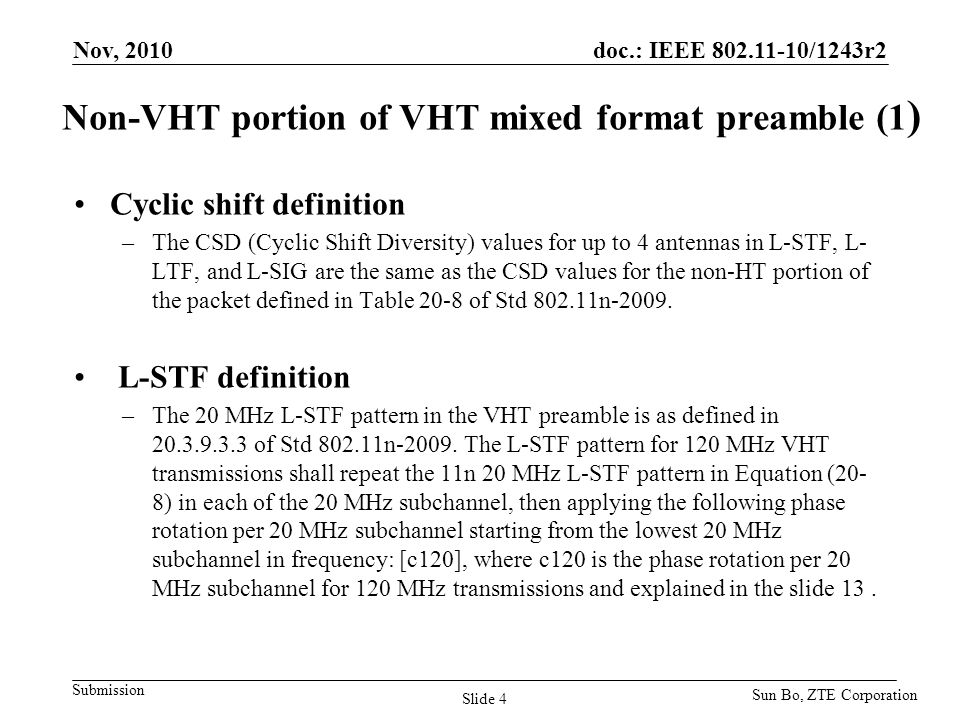 Non-VHT portion of VHT mixed format preamble (1)