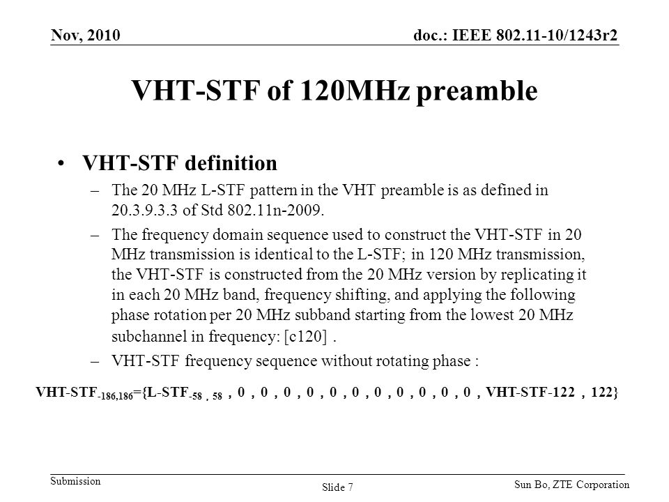 VHT-STF of 120MHz preamble
