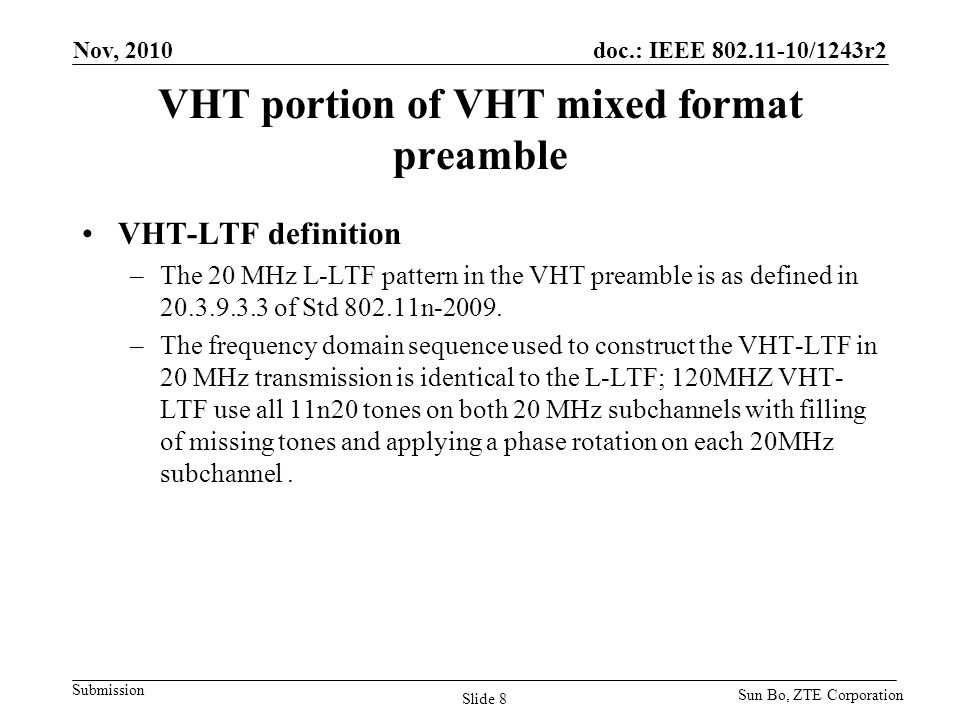 VHT portion of VHT mixed format preamble