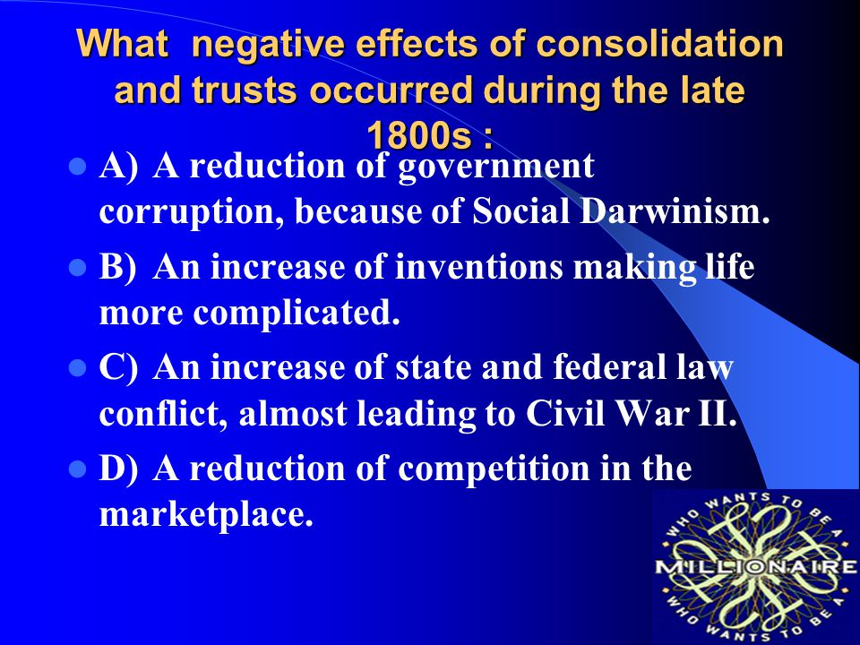 What negative effects of consolidation and trusts occurred during the late 1800s :