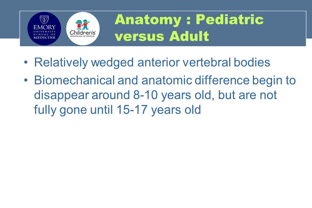 Anatomy : Pediatric versus Adult