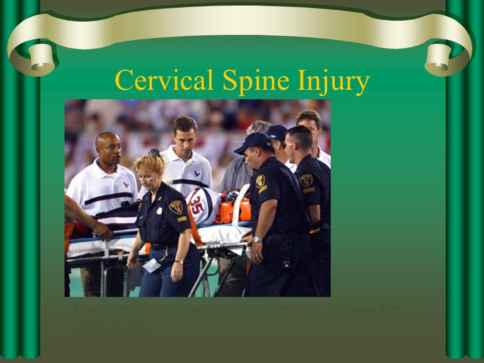 Cervical Spine Injury Medical Emergency – activate EMS ASAP. Maintain C-spine Stability. May have to log-roll the athlete.