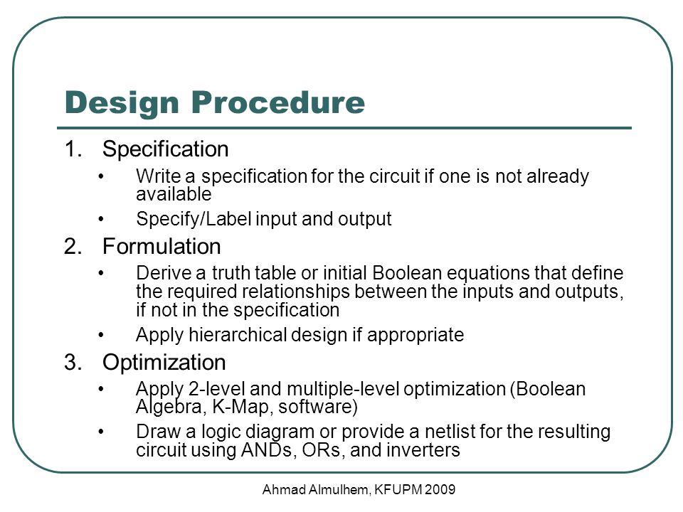 Design Procedure Specification Formulation Optimization