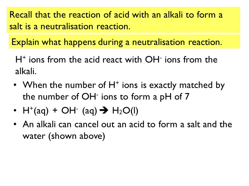 Recall that the reaction of acid with an alkali to form a salt is a neutralisation reaction.