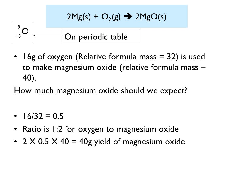 How much magnesium oxide should we expect 16/32 = 0.5
