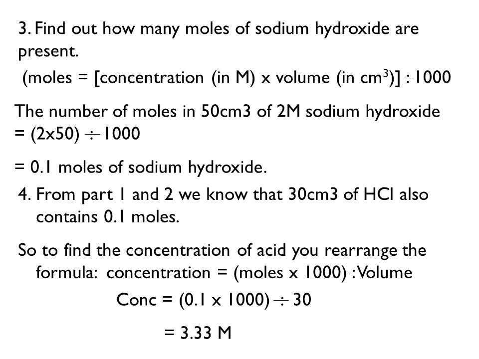 3. Find out how many moles of sodium hydroxide are present.