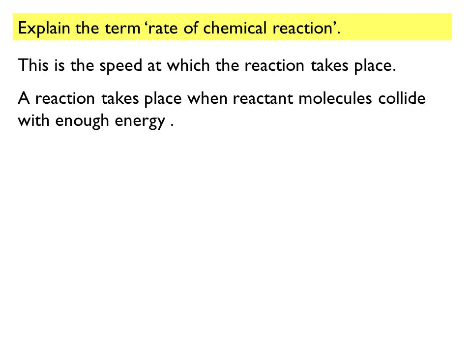 Explain the term 'rate of chemical reaction'.