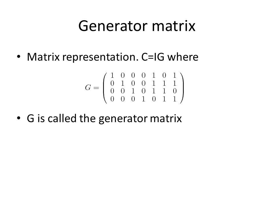 Generator matrix Matrix representation. C=IG where