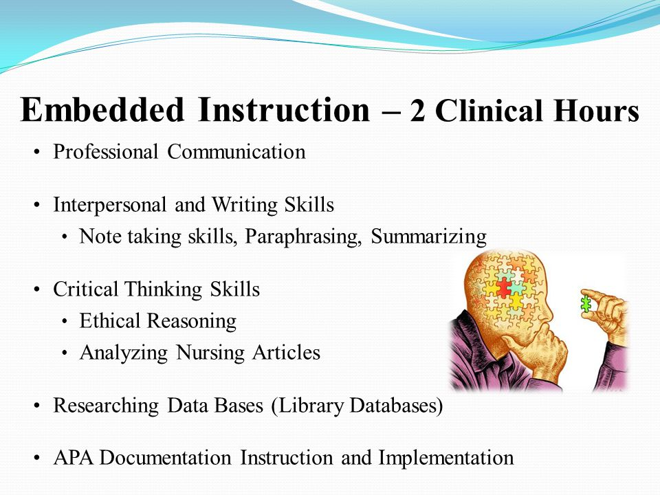 Embedded Instruction – 2 Clinical Hours