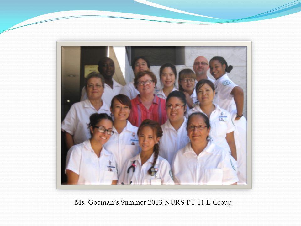 Ms. Goeman's Summer 2013 NURS PT 11 L Group