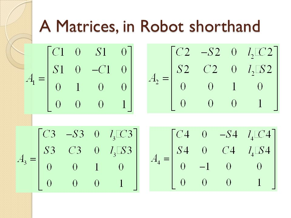 A Matrices, in Robot shorthand