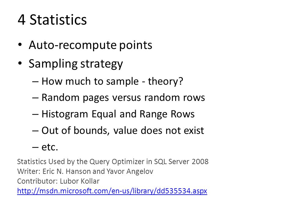 4 Statistics Auto-recompute points Sampling strategy