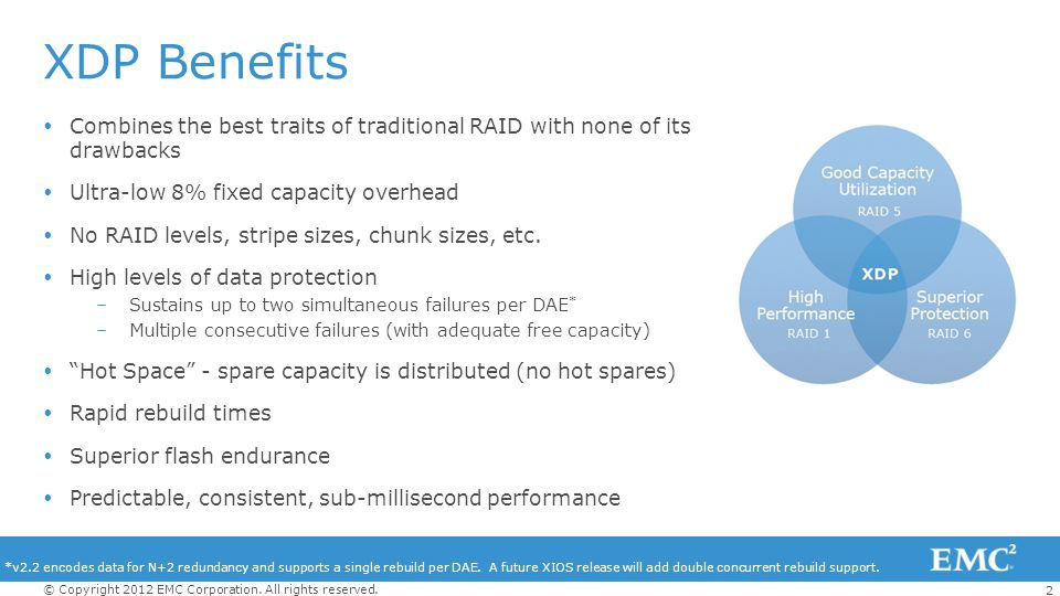 XDP Benefits Combines the best traits of traditional RAID with none of its drawbacks. Ultra-low 8% fixed capacity overhead.