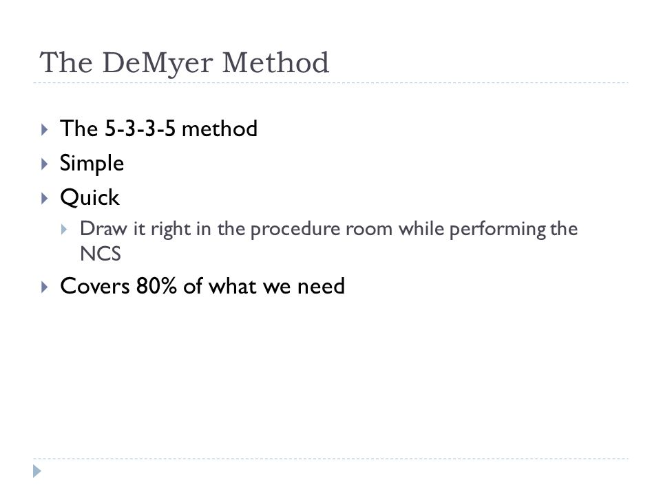 The DeMyer Method The 5-3-3-5 method Simple Quick