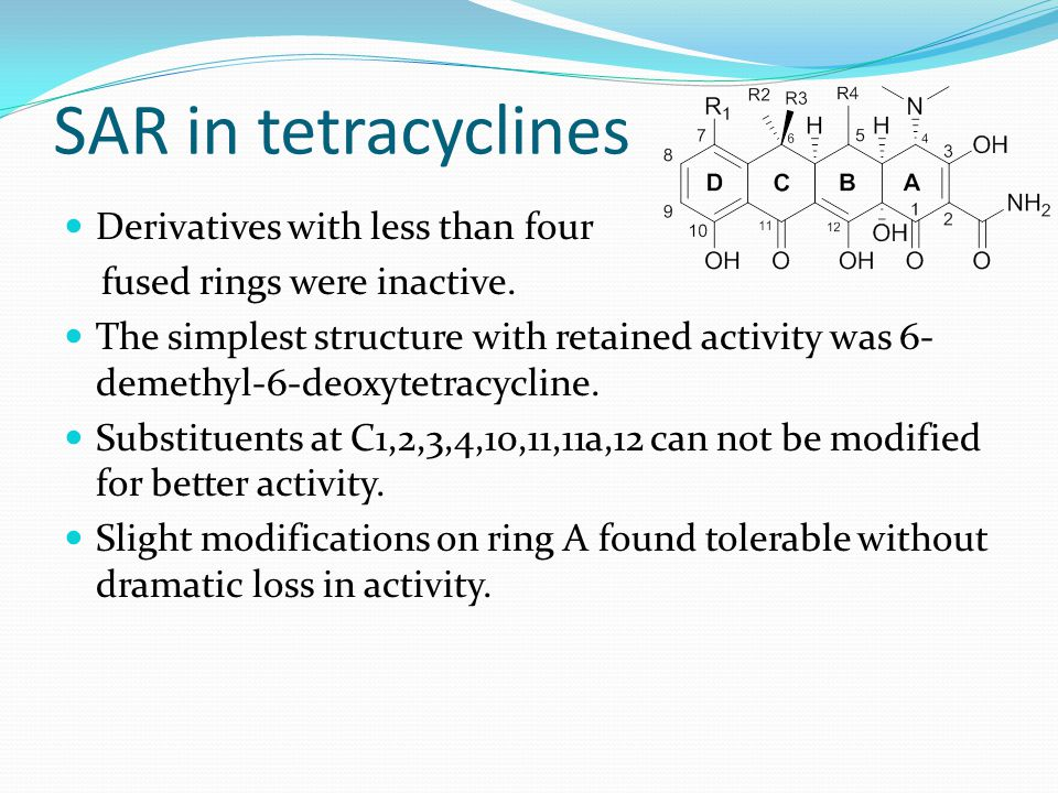 SAR in tetracyclines Derivatives with less than four