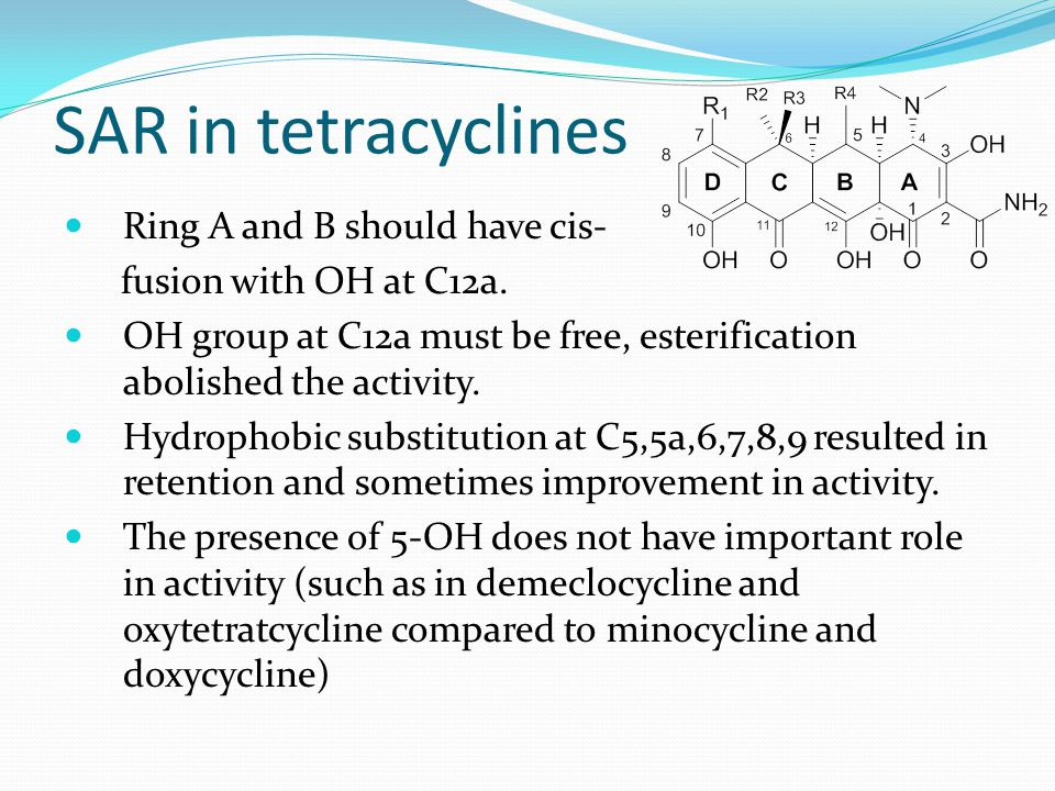 SAR in tetracyclines Ring A and B should have cis-