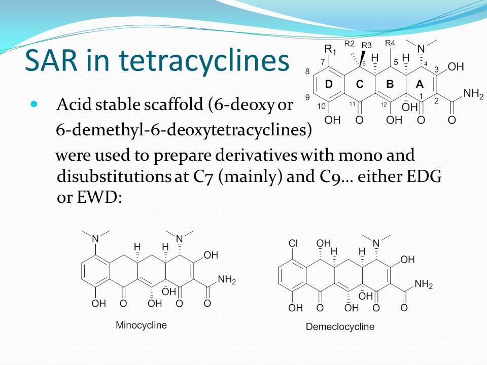 SAR in tetracyclines Acid stable scaffold (6-deoxy or