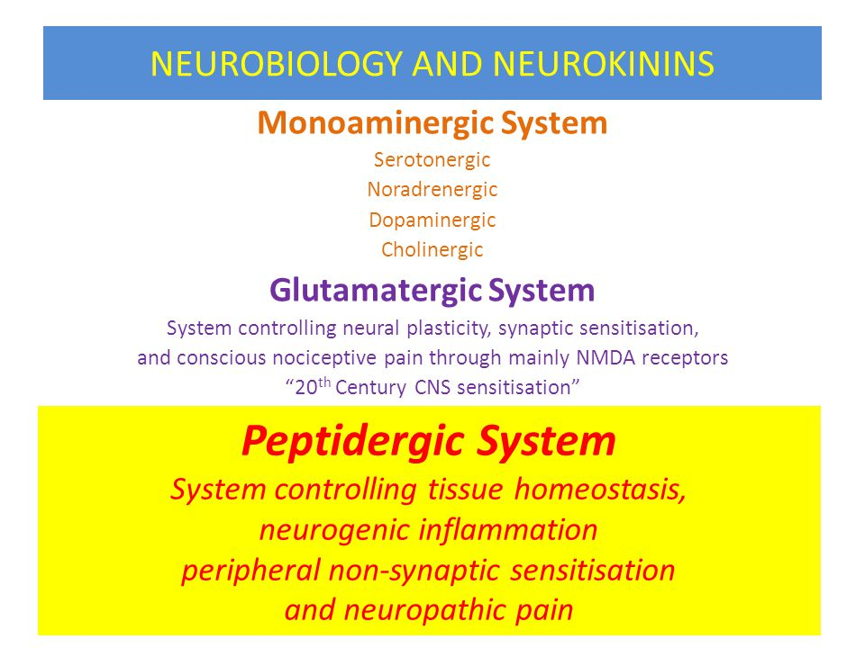 NEUROBIOLOGY AND NEUROKININS