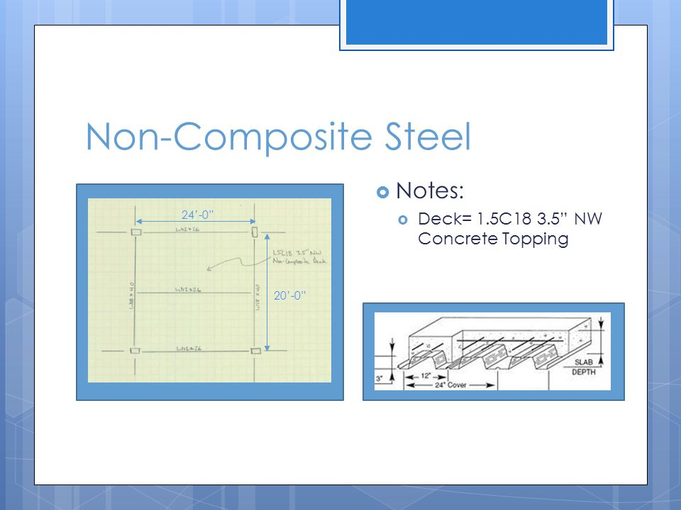 Non-Composite Steel Notes: Deck= 1.5C18 3.5 NW Concrete Topping