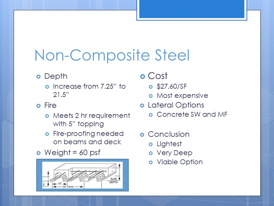 Non-Composite Steel Cost Depth Fire Lateral Options Conclusion