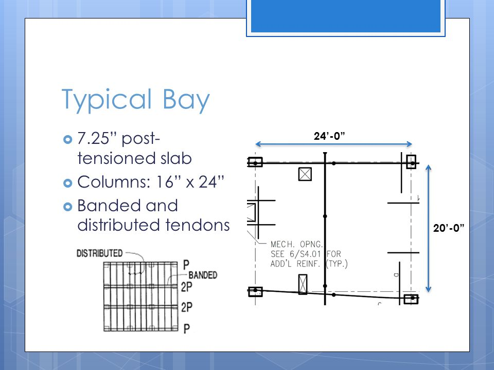 Typical Bay 7.25 post-tensioned slab Columns: 16 x 24