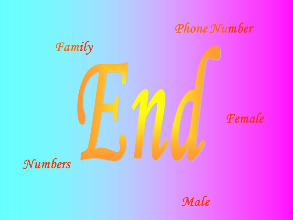 Phone Number Family End Female Numbers Male